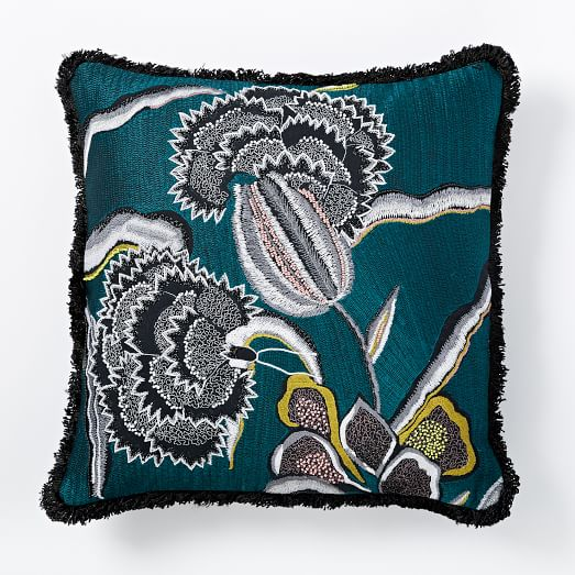 Embroidered Jacobian Tulip Pillow Cover, 18