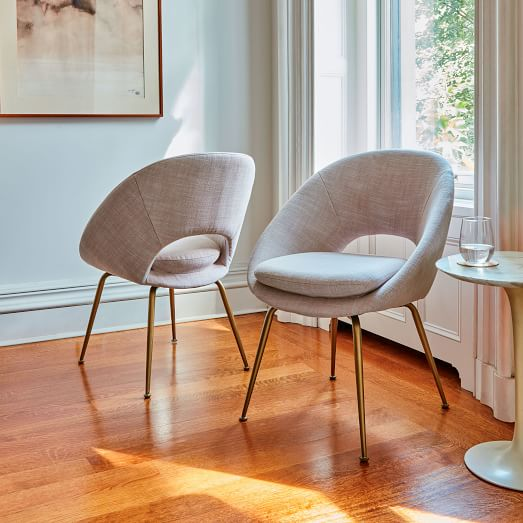Orb Upholstered Dining Chair Antique Brass Legs West Elm