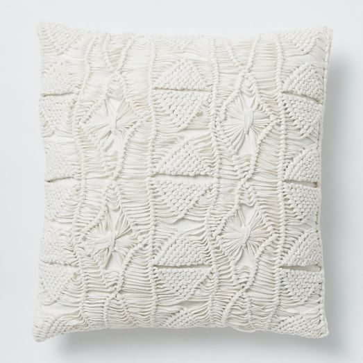 macrame diamond pillow cover stone white west elm. Black Bedroom Furniture Sets. Home Design Ideas