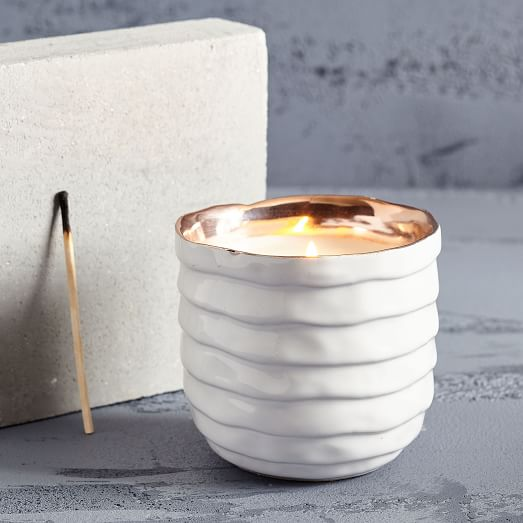 Global Ceramic Bowl Candle, White, White Willow