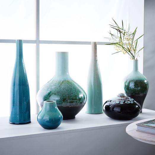 reactive glaze vases green west elm. Black Bedroom Furniture Sets. Home Design Ideas