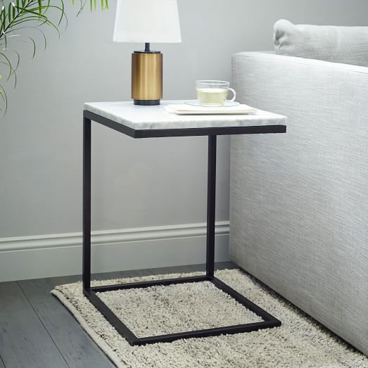 Antique Marble Side Table Reading: Box Frame C-Base Side Table - Marble/Antique Bronze