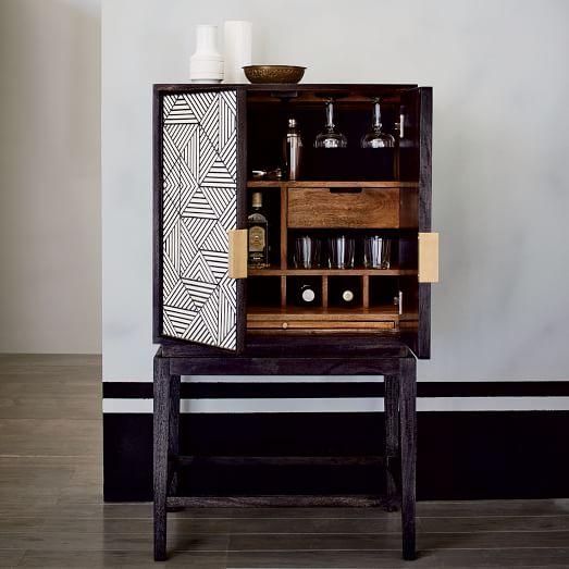 bone inlaid bar cabinet west elm. Black Bedroom Furniture Sets. Home Design Ideas