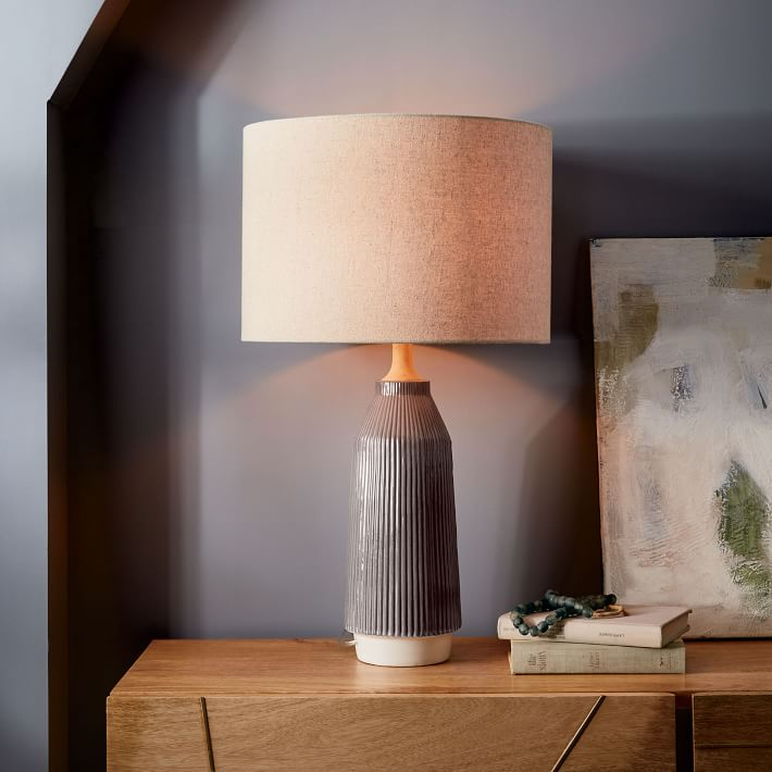 Roar + Rabbit Ripple Ceramic Table Lamp - Large Narrow (Warm Gray) | west  elm