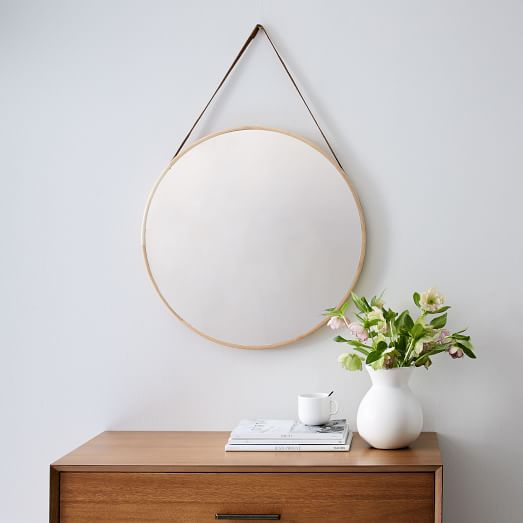 Modern hanging mirror west elm for Long white wall mirror