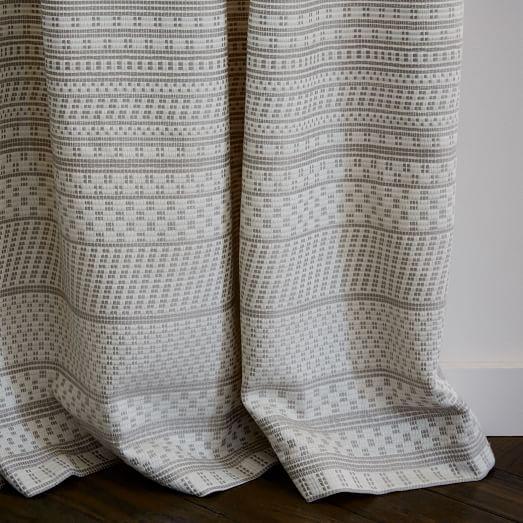 Woven Dot Jacquard Curtain, Platinum, 48