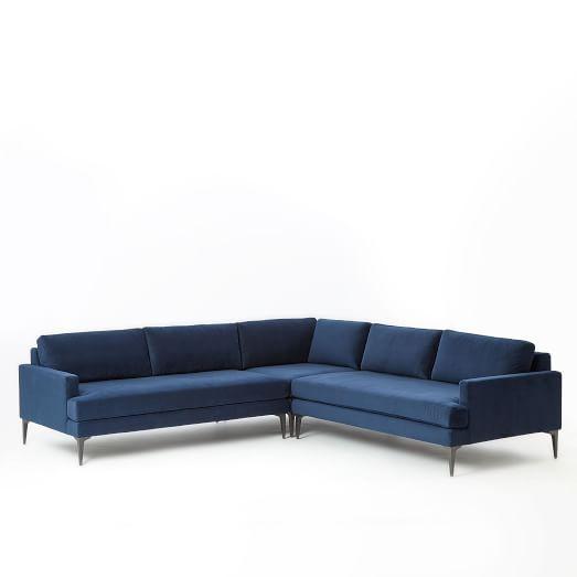 Andes Set 7: Right Arm 2.5 Seater Sofa, Left Arm 2 Seater Sofa, Corner, Performance Velvet, Ink Blue