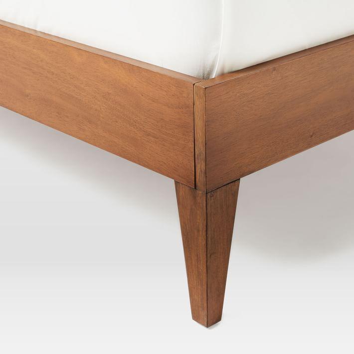 narrow leg wood bed frame acorn west elm