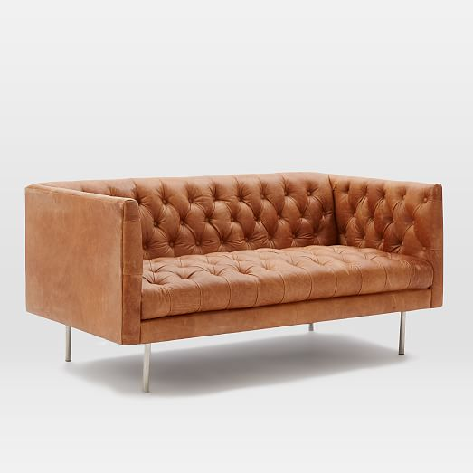 modern chesterfield leather loveseat 63 west elm. Black Bedroom Furniture Sets. Home Design Ideas