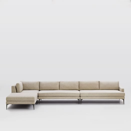 Andes Set 9, Right Arm 2.5 Seater Sofa, Ottoman, Corner+Armless 2 Seater, Twill, Stone