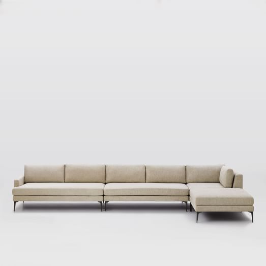 Andes 4 piece chaise sectional west elm for 4 piece sectional with chaise
