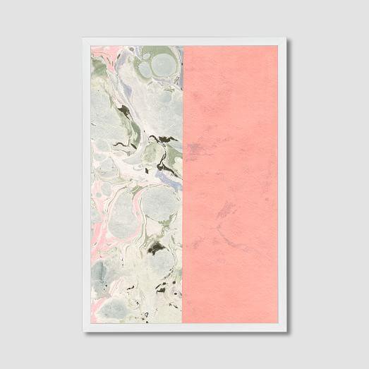 Framed Print, Pink Marble Stripe, 18