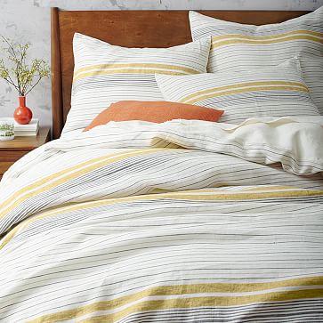 belgian flax linen motley stripe duvet cover shams citrus yellow west elm. Black Bedroom Furniture Sets. Home Design Ideas
