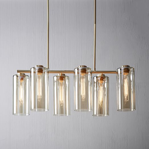 Glass Cylinder Chandelier, Rectangular, Champagne Luster