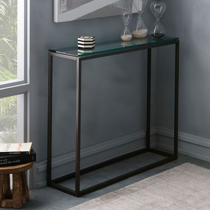 Fabulous Box Frame Console Bronze West Elm With Bronze Console Table.