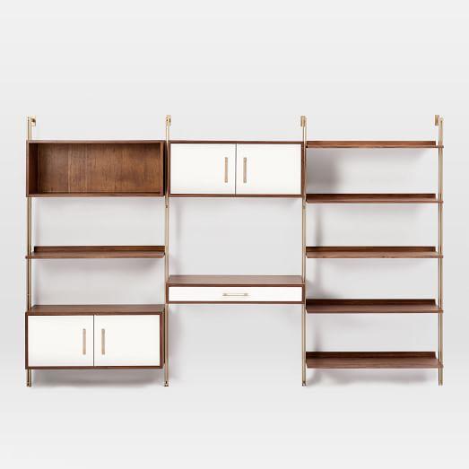 Linden Mid Century Wall Desk Wide Shelf Unit Wide