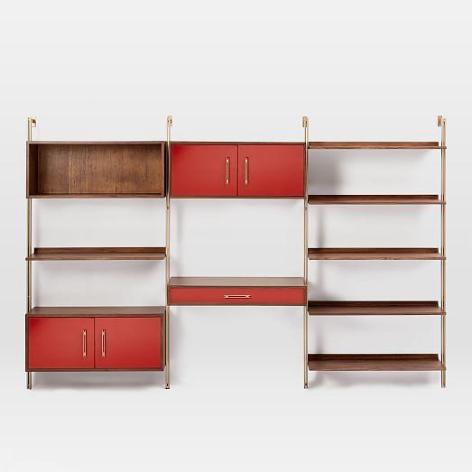 Linden Mid Century Wall Desk Shelf Set With Storage