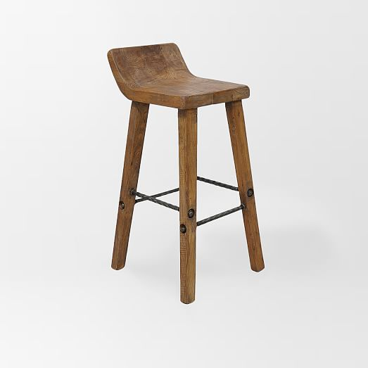 Hewn wood bar stool counter stool west elm - How to build wooden bar stools ...