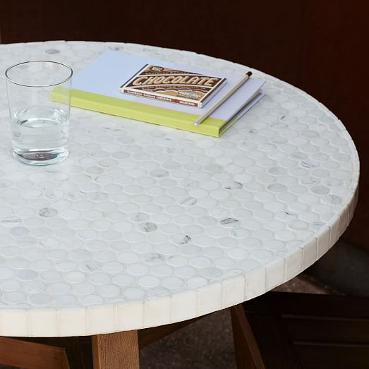 Mosaic Bistro Table White Marble West Elm