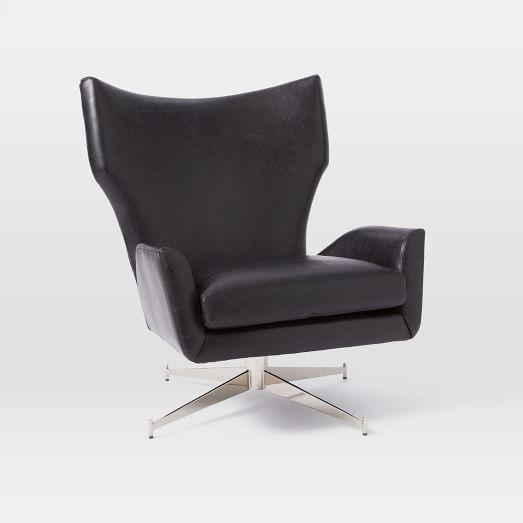 Hemming Leather Swivel Arm Chair, Black
