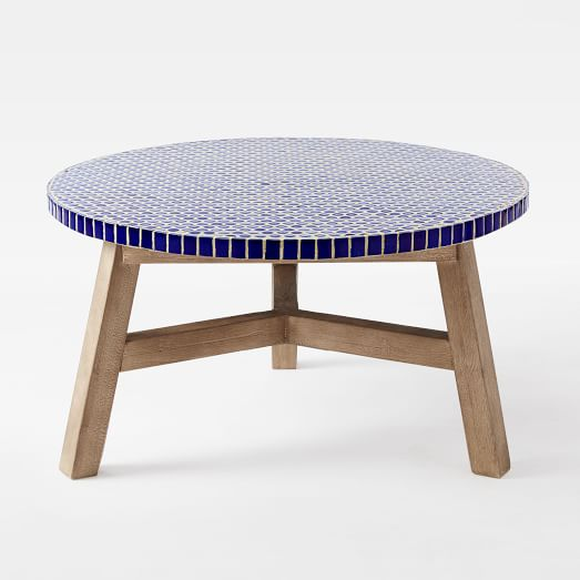 Mosaic Tiled Coffee Table Blue Penny Top West Elm