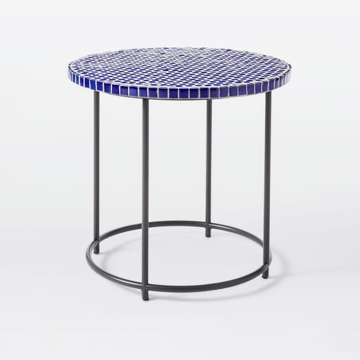 Mosaic Tiled Side Table Blue Penny Top Metal Base