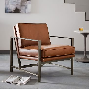 metal frame leather chair west elm