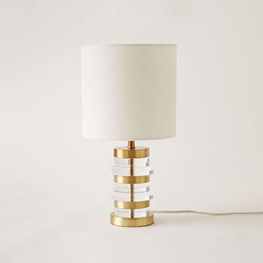 table lamps clear disc table lamp small antique brass white linen. Black Bedroom Furniture Sets. Home Design Ideas