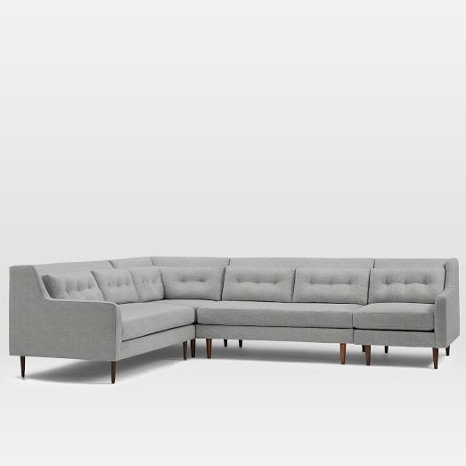 Crosby Set 10: Armless Loveseat, Left Arm Loveseat, Right Arm Chair, Corner, Deco Weave, Feather Gray