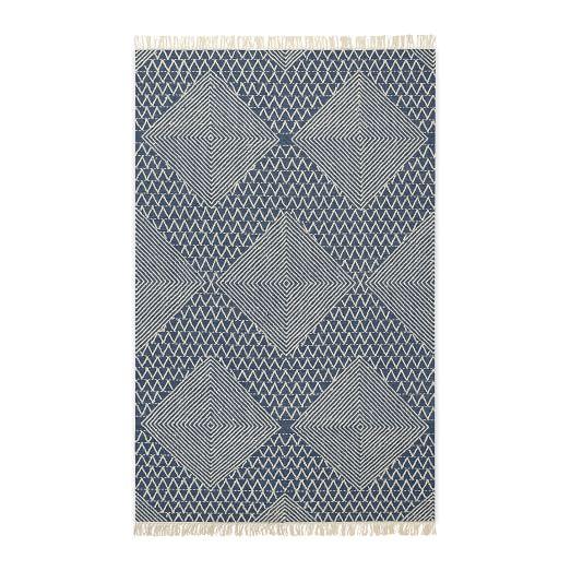 Traced Diamond Wool Kilim, Midnight, 5'x8'