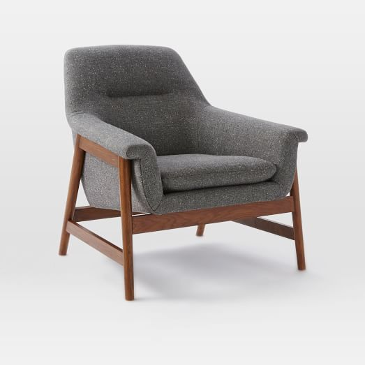 Theo Chair, Tweed, Salt + Pepper, (Walnut Legs)