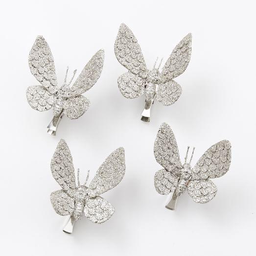 Kraft + Glitter Clip Ornaments, Set of 4, Butterfly