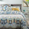 Organic Mosaic Tile Duvet Cover, Navy, Twin