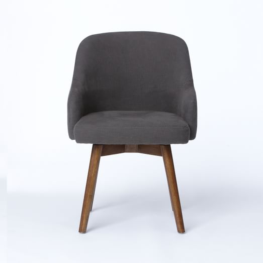 Saddle Office Chair, Cotton Basketweave, Slate, Chocolate Finish