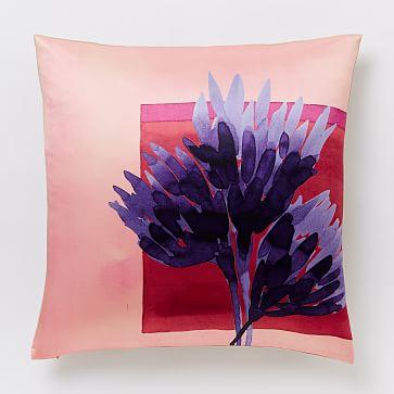 Animal Silhouette Pillow Covers : Roar + Rabbit Protea Silhouette Silk Pillow Cover - Poppy west elm