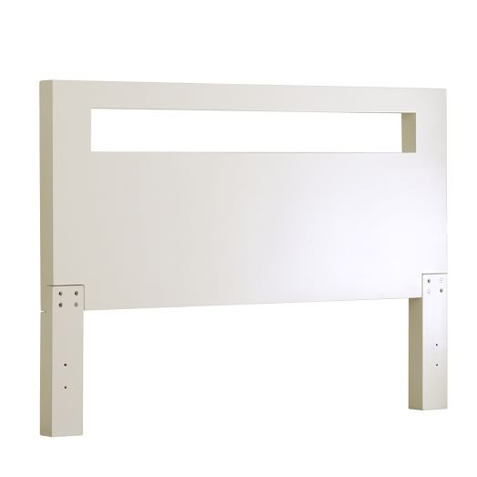 Low Wood Cutout Headboard, King, White Lacquer