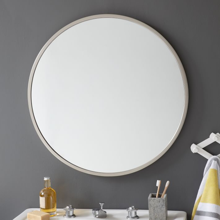 . Metal Framed Round Wall Mirror   west elm