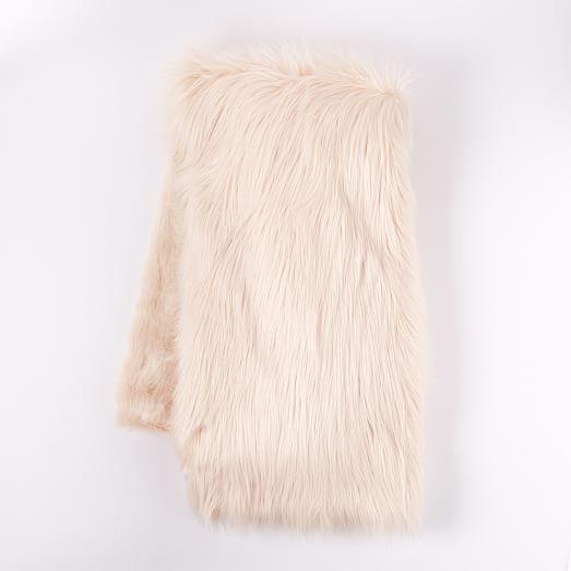 Faux Fur High Low Throw, Pink Blush