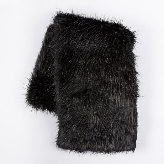 Faux Fur Sheen Throw, Black