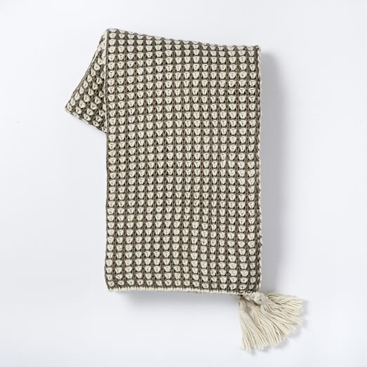 Popcorn Knit Throw, Taupe Gray