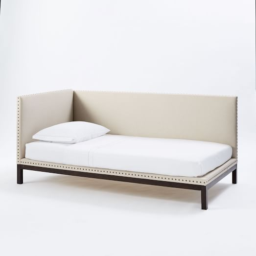 Nailhead Upholstered Daybed Mattress Cover, Linen Weave, Natural