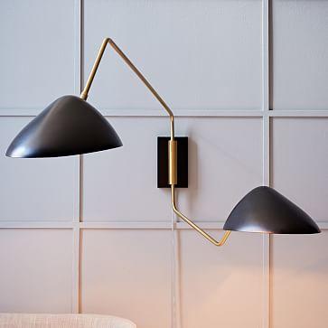 curvilinear mid century sconce double west elm. Black Bedroom Furniture Sets. Home Design Ideas