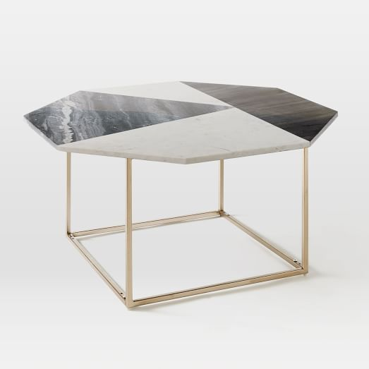 Marquetry Marble Coffee Table -Marble / Light Bronze