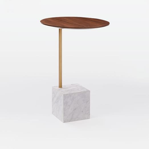 Cube Side Table, Walnut/Antique Brass/White Marble