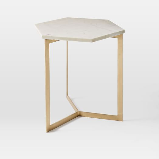 Hex Side Table, White Marble/Antique Brass