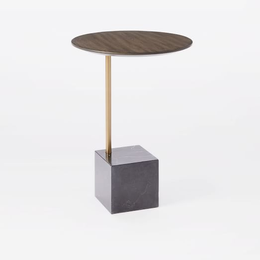 Cube Side Table, Umber/Antique Brass/Black Marble