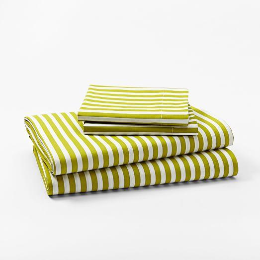 Stripe Print Sheet Set, Twin, Celery Root/White