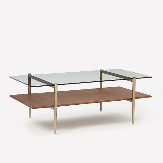 Art Display Coffee Table, Glass, Walnut, Antique Brass