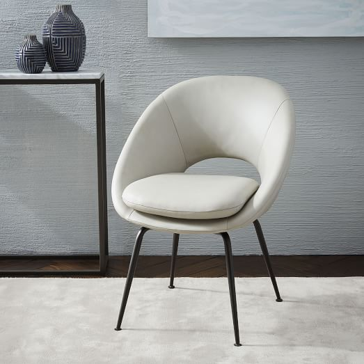 Orb Leather Dining Chair Cement Antique Bronze West Elm