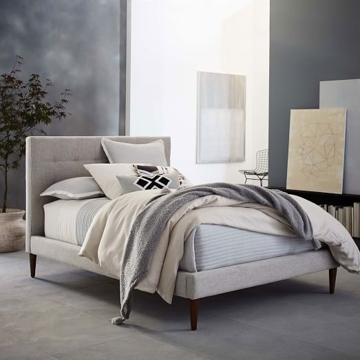 Grid-Tufted Upholstered Tapered Leg Bed